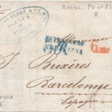 Sellos: 1854 MARSELLA-BARCELONA. MARCA ESTRANGERO/BARCELONA Y PORTEO 3 R EN AZUL- 6 MM EN ROJO. Lote 205724176