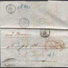 Sellos: 1857 LONDRES A CÁDIZ. P.P. EN CIRCULO, PORTEO 8 Y 4 R. AL DORSO FECHADORES DE TRANSITO,LLEGADA Y MP. Lote 205725736