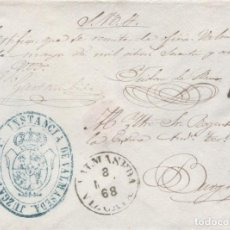 Sellos: 1868 PLICA VALMASEDA A BURGOS. A DE ABONO. Lote 205726887