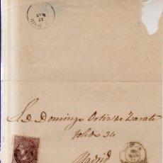 Sellos: AÑO 1868 EDIFIL 98 ISABEL II ENVUELTA MATASELLOS TORTOSA TARRAGONA. Lote 205836412