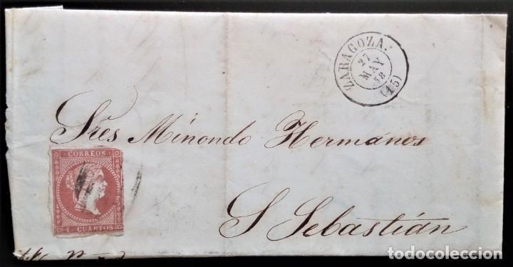 ISABEL II ZARAGOZA ARAGÓN CARTA A SAN SEBASTIÁN 1858 EDIFIL 48 (Sellos - España - Isabel II de 1.850 a 1.869 - Cartas)