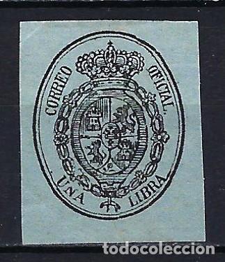 1855 ESPAÑA ESCUDO EDIFIL 38 MLH* NUEVO LIGERA SEÑAL DE FIJASELLOS (Sellos - España - Isabel II de 1.850 a 1.869 - Nuevos)