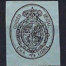 Sellos: 1855 ESPAÑA ESCUDO EDIFIL 38 MLH* NUEVO LIGERA SEÑAL DE FIJASELLOS. Lote 206537830