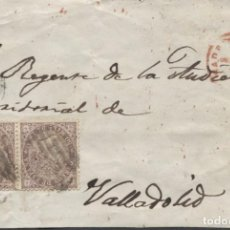 Sellos: 1868 MADRID A VALLADOLID. DOBLE PORTE Y FECHADOR EN ROJO. Lote 207308401