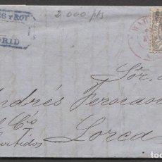 Sellos: 1870 MADRID A HUESCA. FECHADOR ROJO. Lote 207309491