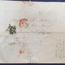 Sellos: CARTA 1851 MADRID A BOCOS BURGOS VILLARCAYO CUENTAS INVERSIONES ACCIONES SELLO ISABEL II. Lote 207533361