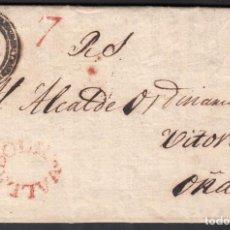 Sellos: CARTA, VALLADOLID A OÑATE, FRANQUICIA OFICIAL, MARCA VALLADOLID EN ROJO, 15 FEBR. 1818. Lote 208194296