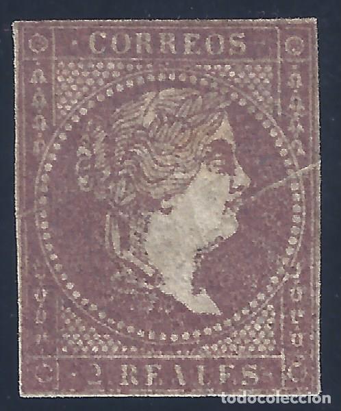 EDIFIL 46 ISABEL II. AÑO 1855. FILIGRANA LINEAS CRUZADAS. VALOR CATÁLOGO: 660 €. LUJO. MH * (Sellos - España - Isabel II de 1.850 a 1.869 - Nuevos)
