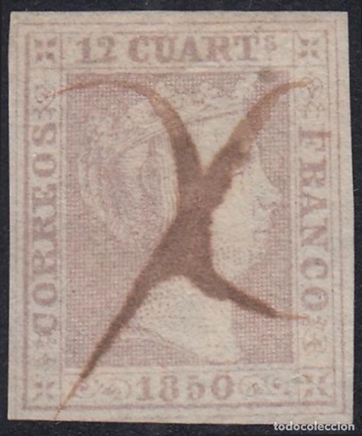1850-ESPAÑA ISABEL II. 12 CUARTOS LILA. - EDIFIL 2 (Sellos - España - Isabel II de 1.850 a 1.869 - Usados)