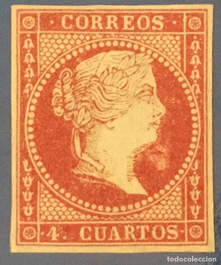 1855-ESPAÑA ISABEL II FILIGRANA LAZOS EDIFIL 40 (*) NUEVO - 4 CUARTOS ROJO - (Sellos - España - Isabel II de 1.850 a 1.869 - Nuevos)