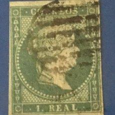 Sellos: 1855-ESPAÑA ISABEL II FILIGRANA LAZOS EDIFIL 41 º USADO - 1 REAL AZUL VERDOSO -. Lote 209053115