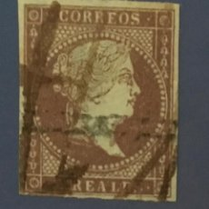 Sellos: 1855-ESPAÑA ISABEL II FILIGRANA LAZOS EDIFIL 42 º USADO - 2 REALES VIOLETA -. Lote 209053721