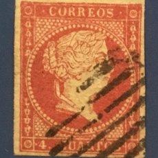 Sellos: 1855-ESPAÑA ISABEL II FILIGRANA LÍNEAS CRUZADAS EDIFIL 44 º USADO - 4 CUARTOS ROJO -. Lote 209055335