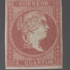 Sellos: 1859-ESPAÑA ISABEL II PAPEL BLANCO EDIFIL 48 B MH* TIPO III - 4 CUARTOS ROSA - NUEVO. Lote 209146771