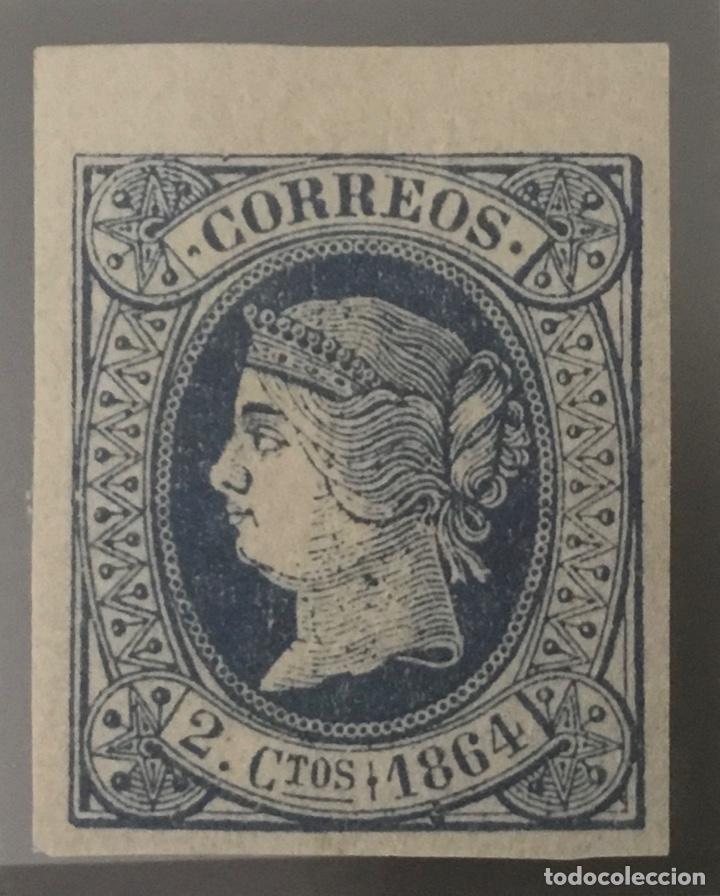 1864-ESPAÑA ISABEL II PAPEL COLOREADO EDIFIL 63 MH* - 2 CUARTOS AZUL - BORDE DE HOJA - LUJO - (Sellos - España - Isabel II de 1.850 a 1.869 - Nuevos)