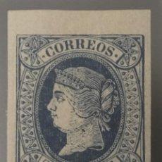 Sellos: 1864-ESPAÑA ISABEL II PAPEL COLOREADO EDIFIL 63 MH* - 2 CUARTOS AZUL - BORDE DE HOJA - LUJO -. Lote 209252890