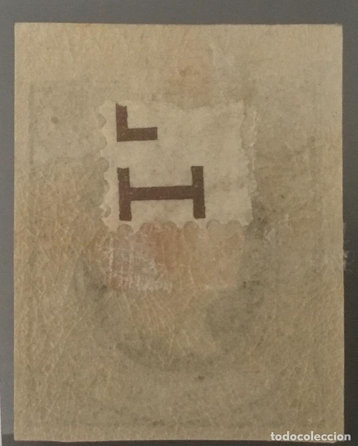 Sellos: 1864-ESPAÑA ISABEL II PAPEL COLOREADO EDIFIL 63 MH* - 2 CUARTOS AZUL - BORDE DE HOJA - LUJO - - Foto 2 - 209252890