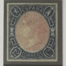 Sellos: 1865-ESPAÑA ISABEL II EDIFIL 70 MH* NUEVO - 12 CUARTOS AZUL Y ROSA -. Lote 209263185