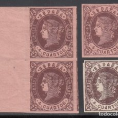 Sellos: ESPAÑA, 1865 EDIFIL Nº 58, 58A , ISABEL II,. Lote 209792400