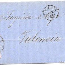 Sellos: EDIFIL 48. RUEDA DE CARRETA Nº 2. ENVUELTA DE BARCELONA A VALENCIA 1859. Lote 210378383