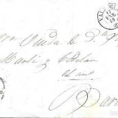Sellos: EDIFIL 48. RUEDA DE CARRETA Nº 8. ENVUELTA DE VALENCIA BARCELONA. 1859. Lote 210379458
