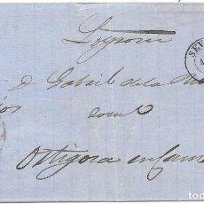 Sellos: EDIFIL 48. RUEDA DE CARRETA Nº 7. ENVUELTA DE SEVILLA A ORTIGOSA DE CAMEROS. 1859. Lote 210379701
