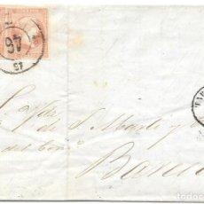 Sellos: EDIFIL 48. RUEDA DE CARRETA Nº 46. ENVUELTA DE TARRAGONA A BARCELONA. 1859. Lote 210380021