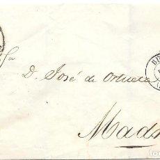 Sellos: EDIFIL 48. RUEDA DE CARRETA Nº 21. ENVUELTA DE BURGOS A MADRID. 1858. Lote 210380457