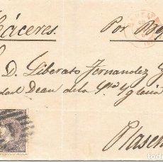 Sellos: EDIFIL 98. EXTREMADURA. ENVUELTA DE MADRID A PLASENCIA. 1869. Lote 210381257