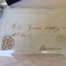 Sellos: MADRID A BARCELONA ENVUELTA CON ERROR FECHADOR 1864 DEBE SER 1861. Lote 210437612