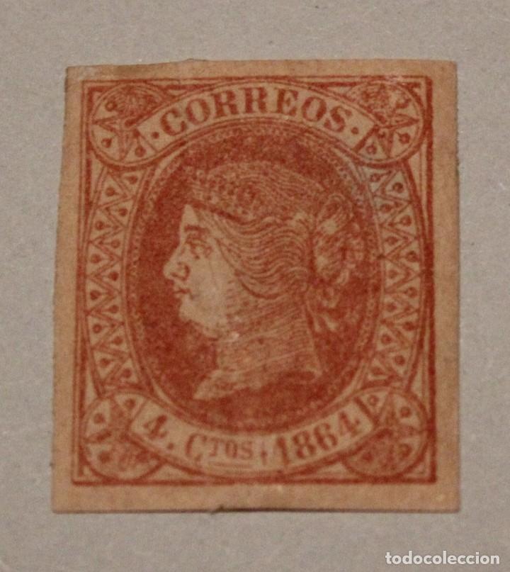 ISABEL II.1864. EDIFIL 64. 4 CUARTOS ROJO S. SALMON (*) (Sellos - España - Isabel II de 1.850 a 1.869 - Nuevos)