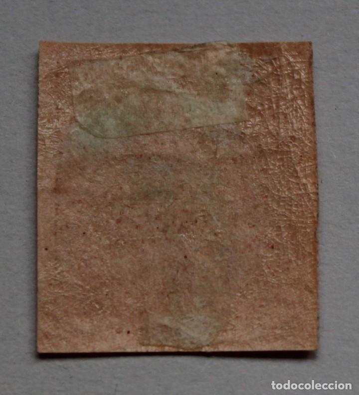 Sellos: Isabel II.1864. Edifil 64. 4 cuartos rojo s. salmon (*) - Foto 2 - 210788804