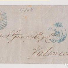 Sellos: ENVUELTA. GIJÓN, ASTURIAS. 1857. PARRILLA Y FECHADOR AZUL. A VALENCIA. Lote 211493177