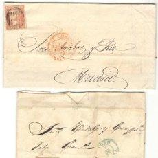 Sellos: SIETE CARTAS - SELLOS ISABEL II - 1852 - 1856 - CORUÑA - SALAMANCA - CÁDIZ - TORO - BARCELONA. Lote 211526899