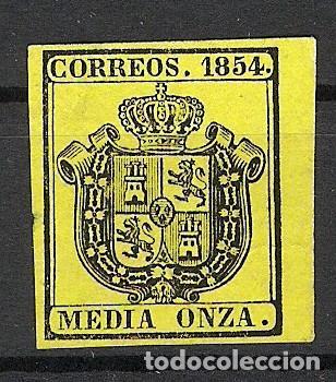 1854. ESCUDO DE ESPAÑA. EDIFIL 28. 1/2 ONZA (*) (Sellos - España - Isabel II de 1.850 a 1.869 - Nuevos)