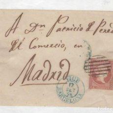 Sellos: 1856 FRAGMENTO CARTA DE VICH A MADRID MATASELLOS AZUL EDIFIL 44(º). Lote 210641271
