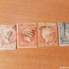 Timbres: LOTE 4 SELLOS REINA ISABEL II 1850-1859 ESPAÑA SIGLO XIX. Lote 213474470