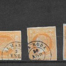 Timbres: 4 CUARTOS 1860. EDIFIL 52. ALBACETE. LOTE DE 4 FECHADORES VARIADOS. Lote 213936248
