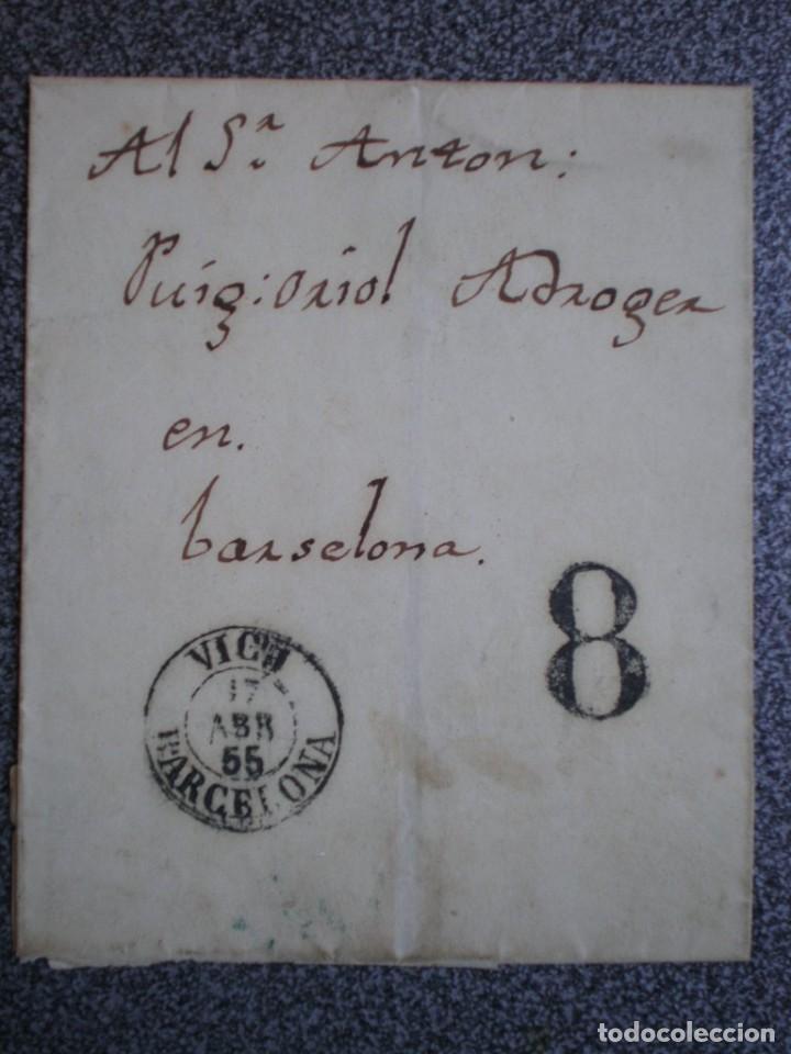 ENVUELTA CARTA AÑO 1855 FECHADOR VICH CIRCULADA SIN SELLO, PORTEO 8 POR FALTA DE FRANQUEO (Sellos - España - Isabel II de 1.850 a 1.869 - Cartas)