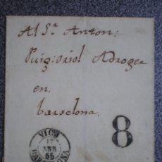 Sellos: ENVUELTA CARTA AÑO 1855 FECHADOR VICH CIRCULADA SIN SELLO, PORTEO 8 POR FALTA DE FRANQUEO. Lote 214188670