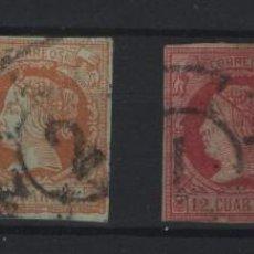 Sellos: R75/ ESPAÑA 1860-61, ISABEL II (AUTENTICOS) EDIFIL 51/3 Y 56, CATALOGO 2020 (47 €). Lote 214696781