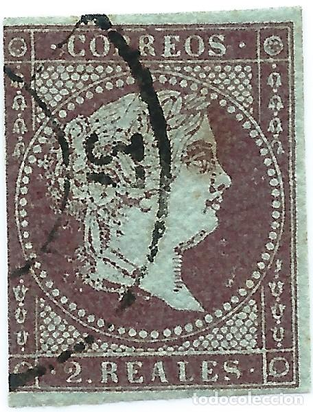 ESPAÑA. EDIFIL N.º 42 USADO. RUEDA DE CARRETA N.º 37 (Sellos - España - Isabel II de 1.850 a 1.869 - Usados)