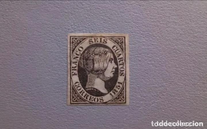 ESPAÑA-1851- ISABEL II- EDIFIL 6 - MH* - NUEVO - AUTENTICO - CALCADO AL DORSO - VALOR CATALOGO 375€. (Sellos - España - Isabel II de 1.850 a 1.869 - Nuevos)