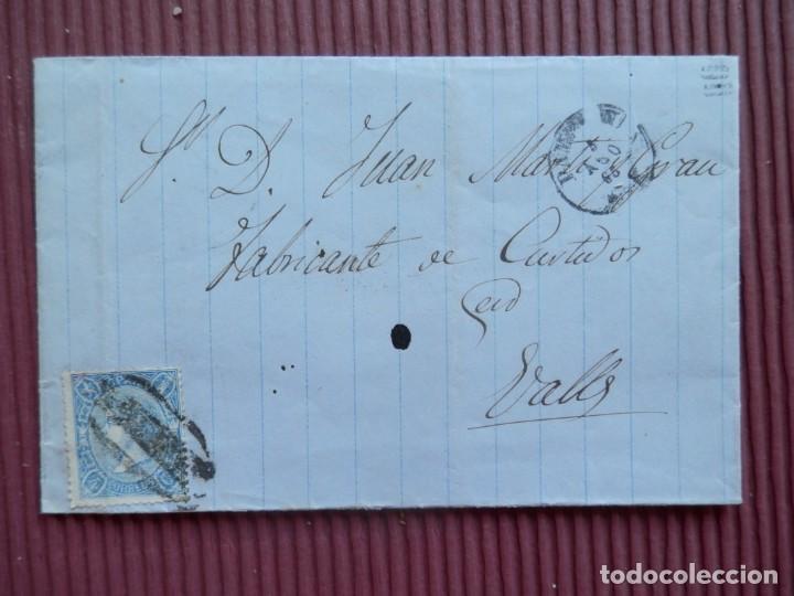 RARA CARTA CON MATASELLO PREFILATÉLICO PAMPLONA A VALLS AÑO 1865 CERTIFICADO A ROIG (Sellos - España - Isabel II de 1.850 a 1.869 - Cartas)