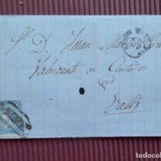 Sellos: RARA CARTA CON MATASELLO PREFILATÉLICO PAMPLONA A VALLS AÑO 1865 CERTIFICADO A ROIG. Lote 216696131
