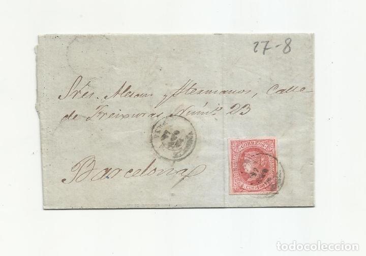 CIRCULADA Y ESCRITA 1864 DE VERA ALMERIA A BARCELONA (Sellos - España - Isabel II de 1.850 a 1.869 - Cartas)