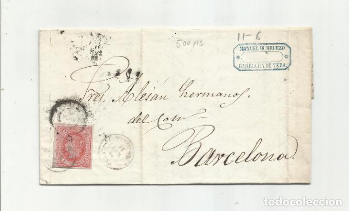 CIRCULADA Y ESCRITA EMBARQUE GOLETA SANTA ISABEL 1864 DE GARRUCHA VERA ALMERIA A BARCELONA (Sellos - España - Isabel II de 1.850 a 1.869 - Cartas)