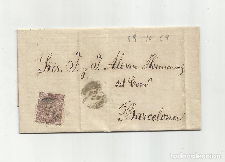 CIRCULADA Y ESCRITA 1869 DE GARRUCHA DE VERA ALMERIA A BARCELONA (Sellos - España - Isabel II de 1.850 a 1.869 - Cartas)