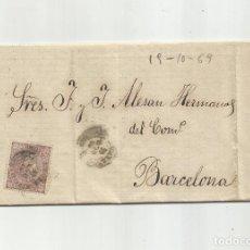 Francobolli: CIRCULADA Y ESCRITA 1869 DE GARRUCHA DE VERA ALMERIA A BARCELONA. Lote 217446372