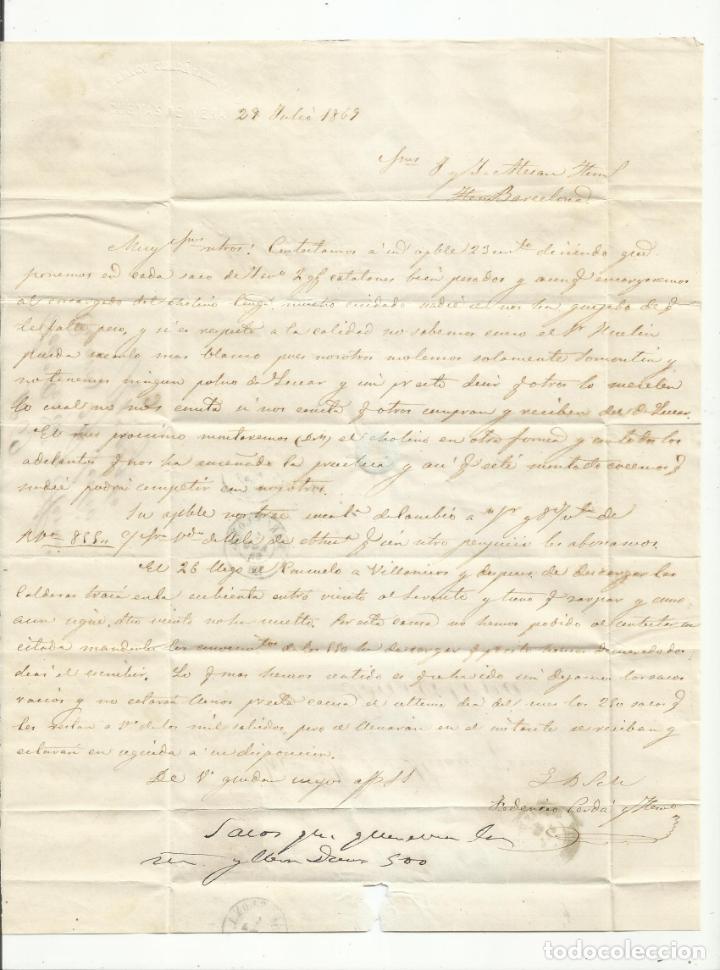Sellos: circulada Y ESCRITA 1869 DE CUEVAS DE VERA ALMERIA A BARCELONA - Foto 2 - 217446548